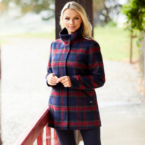 black and red coat